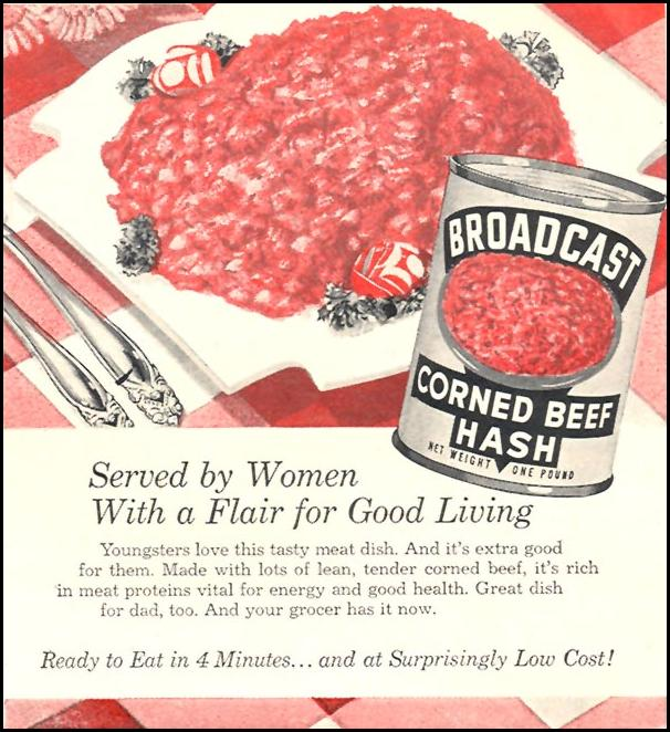 BROADCAST CORNED BEEF HASH WOMAN'S DAY 12/01/1954 p. 133