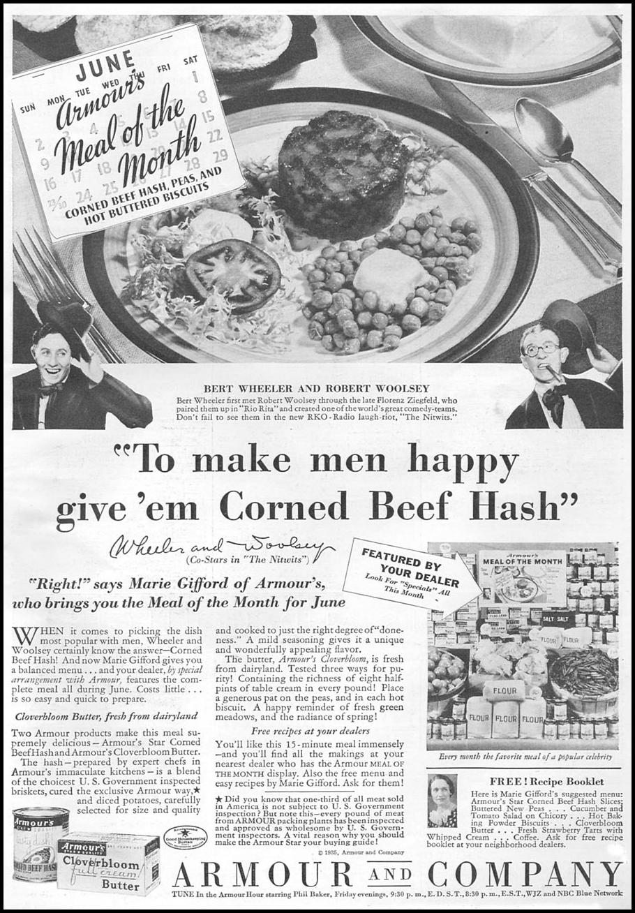 ARMOUR STAR CORNED BEEF HASH GOOD HOUSEKEEPING 06/01/1935 p. 9
