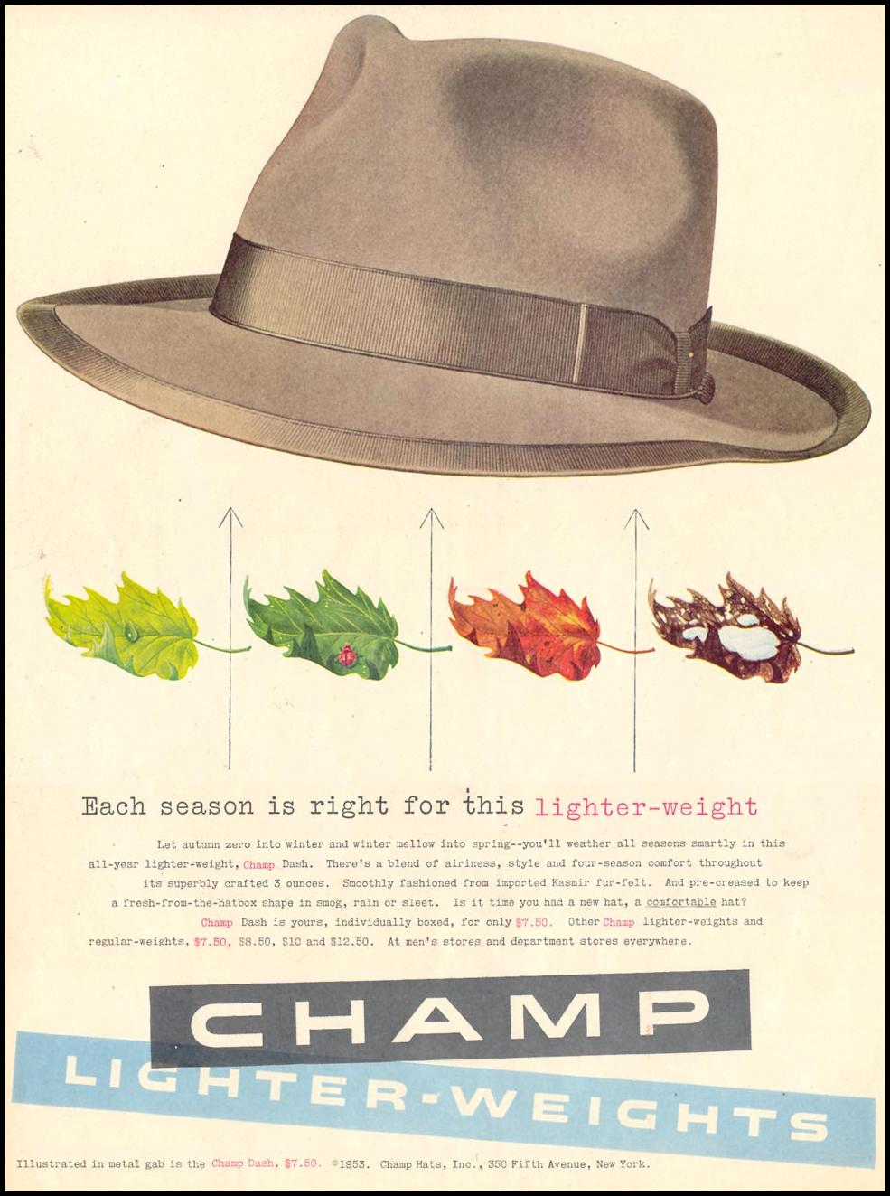 CHAMP LIGHTER-WEIGHT HATS LIFE 10/19/1953 p. 104