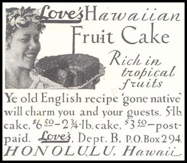 LOVE'S HAWAIIAN FRUIT CAKE GOOD HOUSEKEEPING 11/01/1933 p. 180