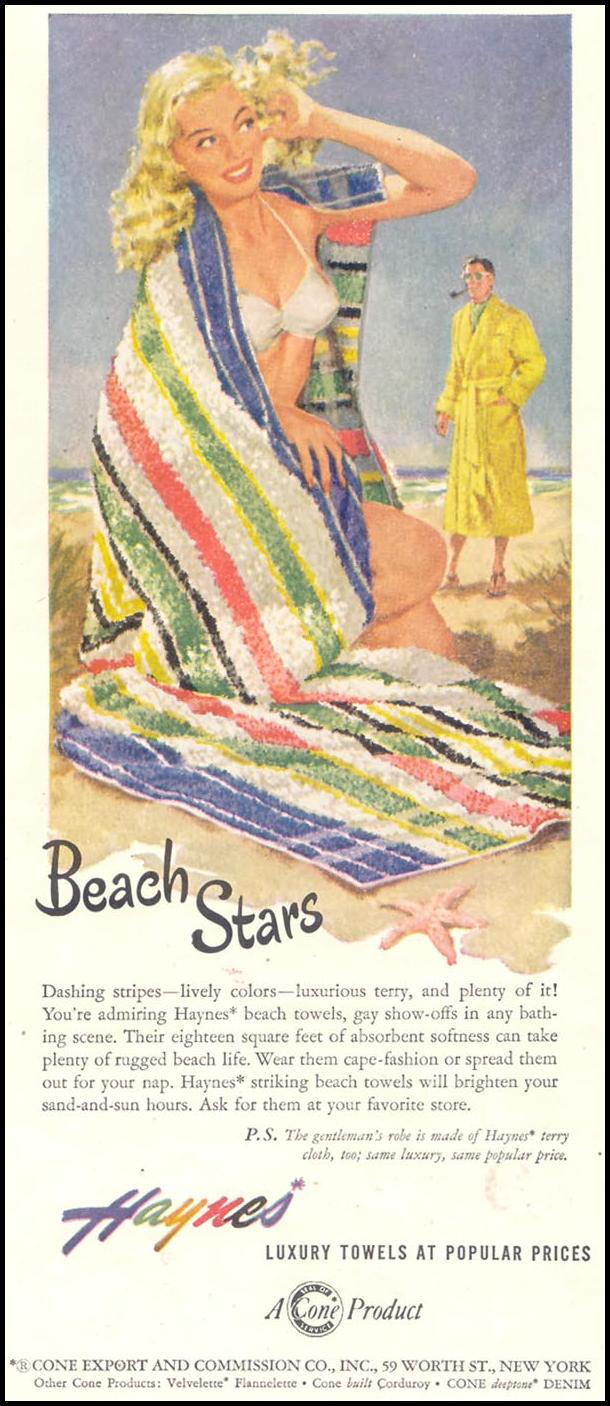 HAYNES BEACH TOWELS GOOD HOUSEKEEPING 07/01/1949 p. 152