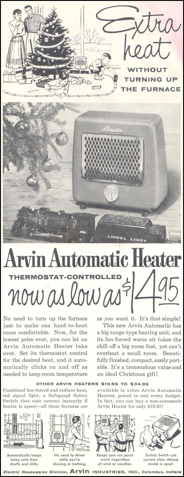 ARVIN AUTOMATIC HEATER SATURDAY EVENING POST 12/10/1955 p. 73