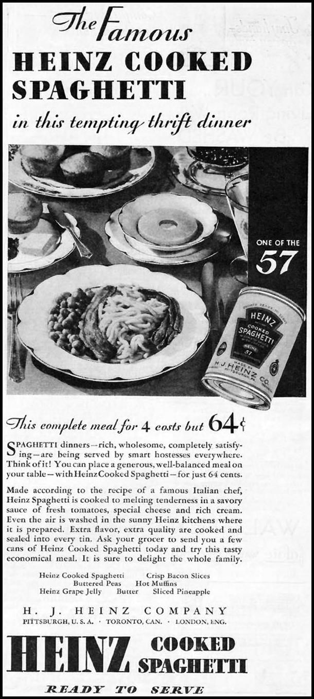 HEINZ COOKED SPAGHETTI BETTER HOMES AND GARDENS 03/01/1932 p. 55