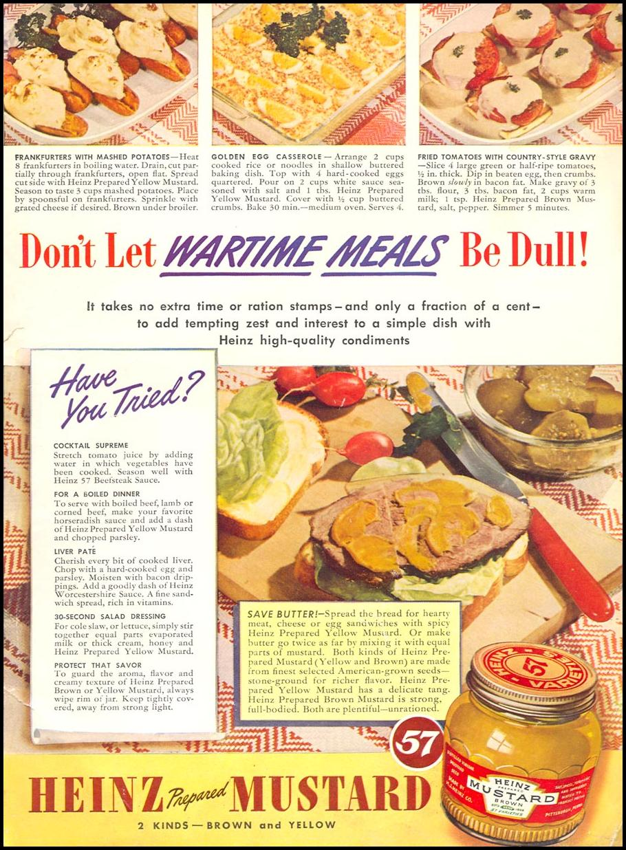HEINZ PREPARED MUSTARD WOMAN'S DAY 06/01/1943 INSIDE BACK