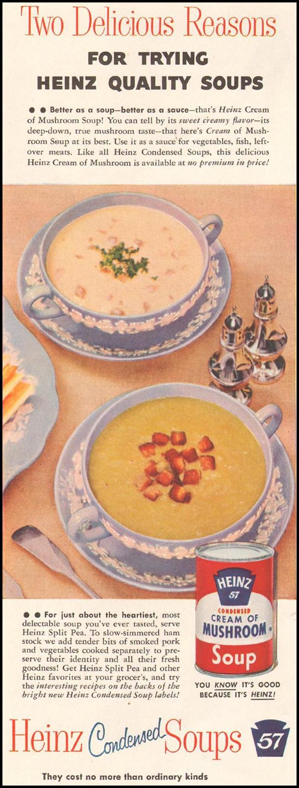 HEINZ CONDENSED SOUPS LADIES' HOME JOURNAL 03/01/1954 p. 144