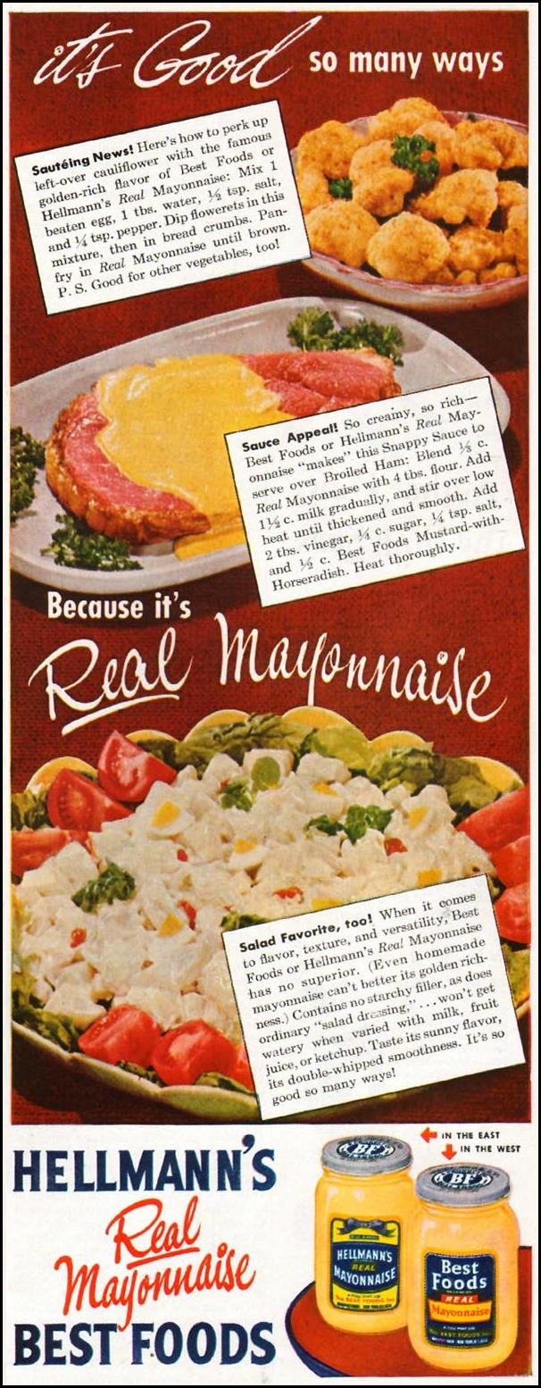 HELLMANN'S REAL MAYONNAISE LADIES' HOME JOURNAL 07/01/1949 p. 97