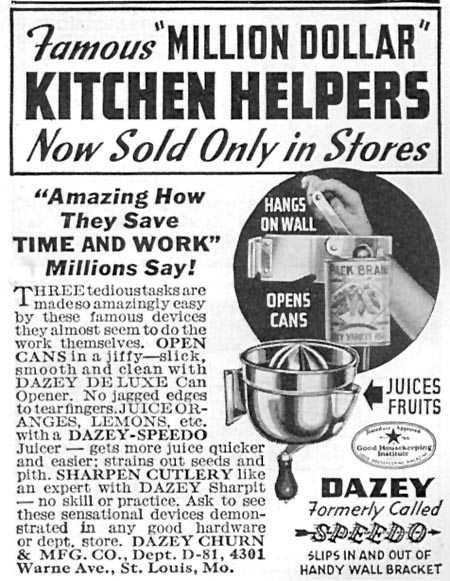 DAZEY DELUXE CAN OPENER GOOD HOUSEKEEPING 04/01/1936 p. 247