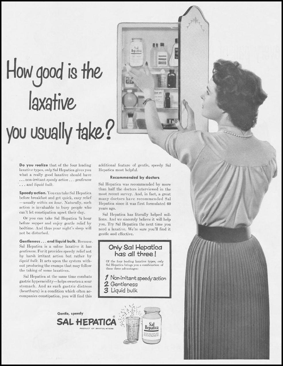SAL HEPATICA LAXATIVE LADIES' HOME JOURNAL 03/01/1954 p. 38