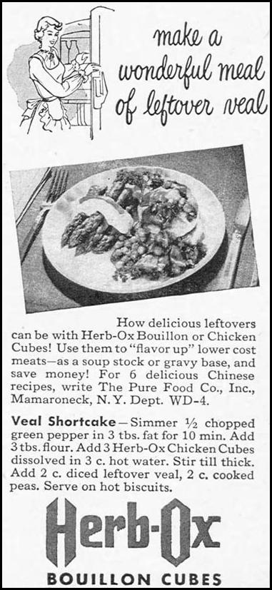 HERB-OX BOUILLON CUBES WOMAN'S DAY 04/01/1949 p. 123