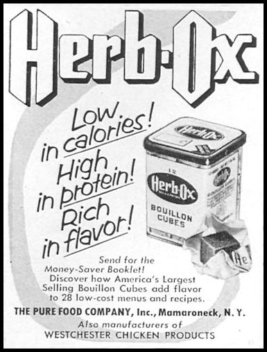 HERB-OX BOUILLON CUBES WOMAN'S DAY 12/01/1954 p. 134