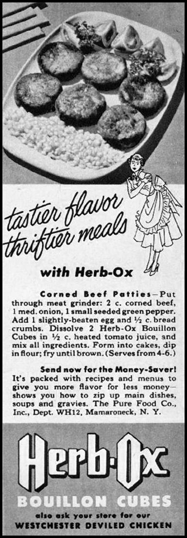 HERB-OX BOUILLON CUBES WOMAN'S HOME COMPANION 12/01/1952 p. 88