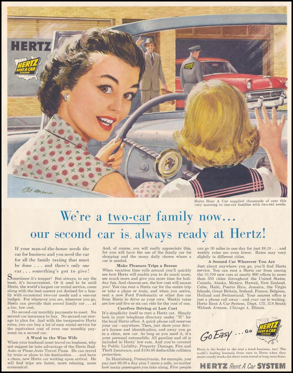 AUTO RENTAL SATURDAY EVENING POST 07/23/1955 INSIDE BACK