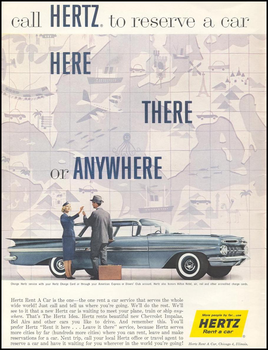 AUTOMOBILE RENTAL SPORTS ILLUSTRATED 01/12/1959 INSIDE FRONT