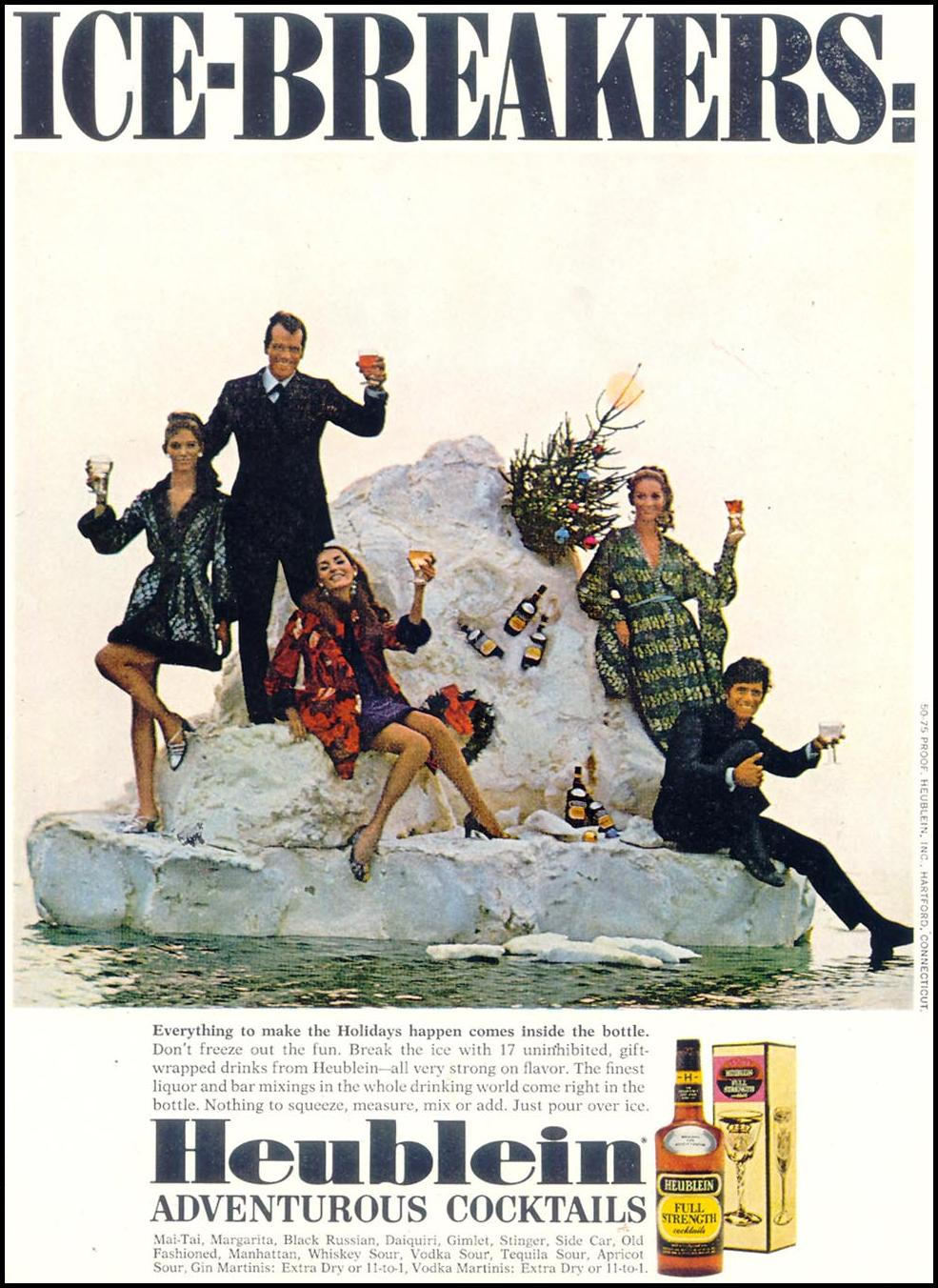 HEUBLEIN ADVENTUROUS COCKTAILS SATURDAY EVENING POST 12/28/1968 p. 13