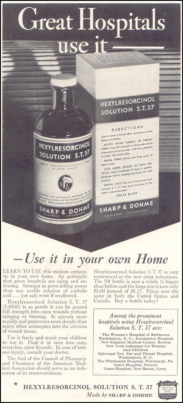 HEXYLRESORCINOL SOLUTION S. T. 37 GOOD HOUSEKEEPING 11/01/1933 p. 173