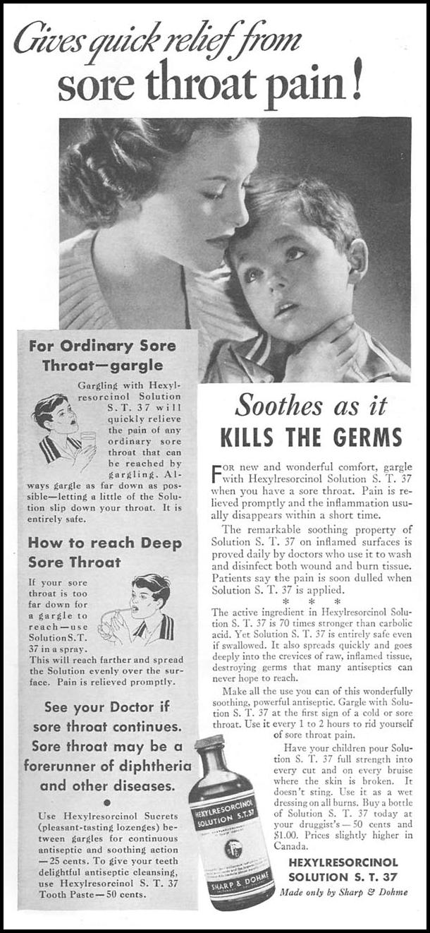 HEXYLRESORCINOL SOLUTION S. T. 37 GOOD HOUSEKEEPING 06/01/1935 p. 170