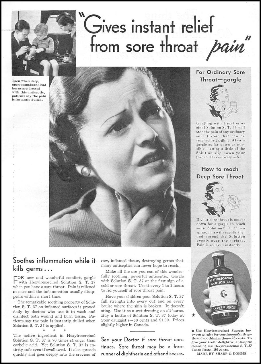 HEXYLRESORCINOL SOLUTION S. T. 37 GOOD HOUSEKEEPING 12/01/1934 p. 163