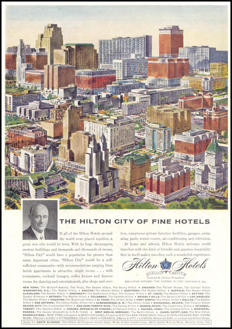 HILTON HOLTELS SATURDAY EVENING POST 05/02/1959 p. 109
