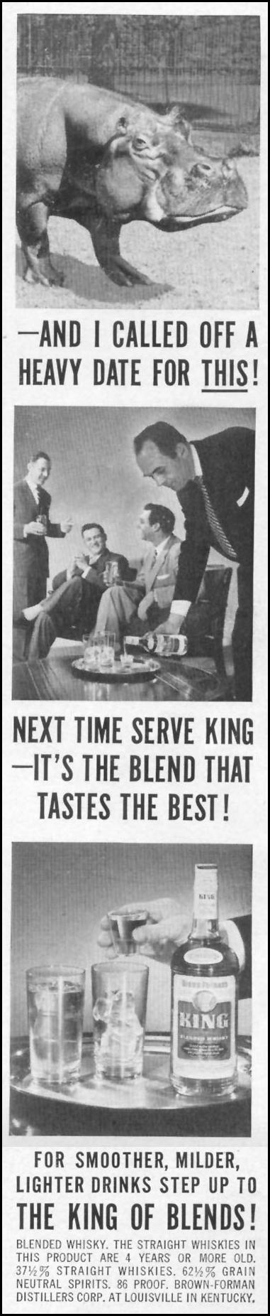 KING BLENDED WHISKY LIFE 10/13/1952 p. 89