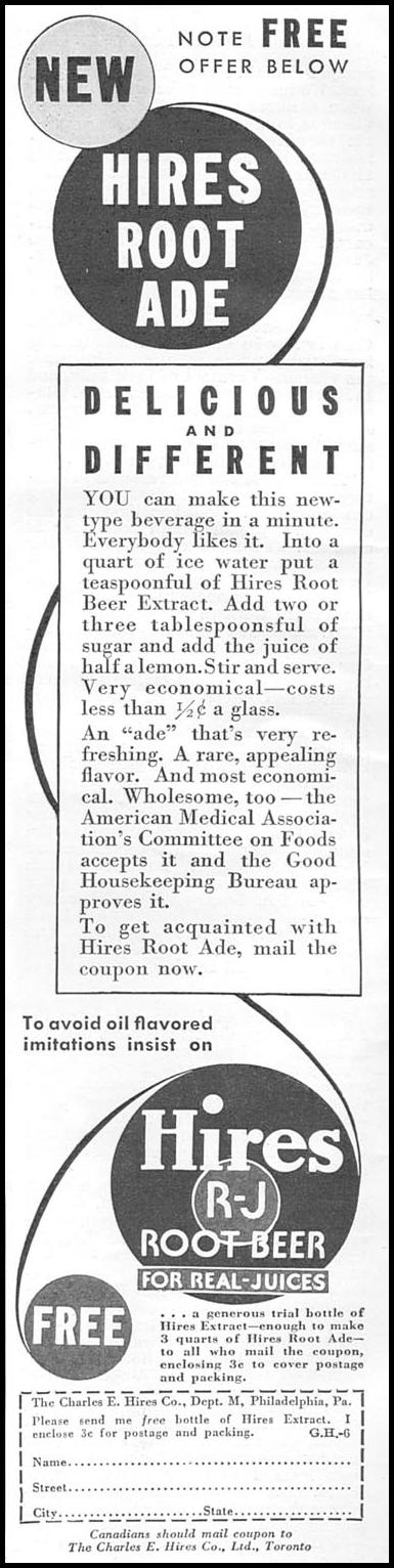 HIRES ROOT BEER GOOD HOUSEKEEPING 06/01/1935 p. 196