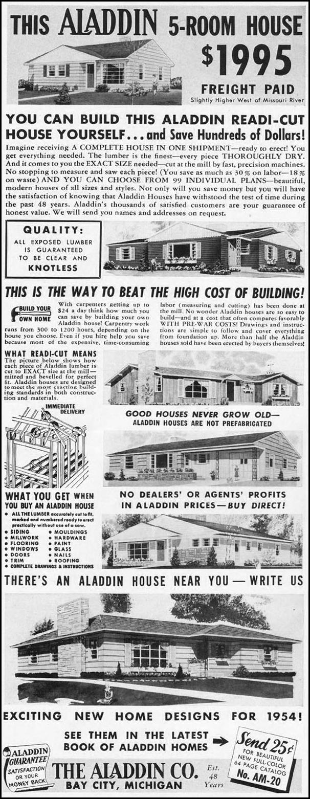 ALADDING 5-ROOM READI-CUT HOUSE LADIES' HOME JOURNAL 03/01/1954 p. 106