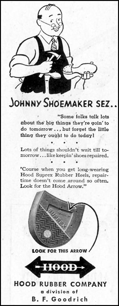 HOOD RUBBER SOLES SATURDAY EVENING POST 10/06/1945 p. 106