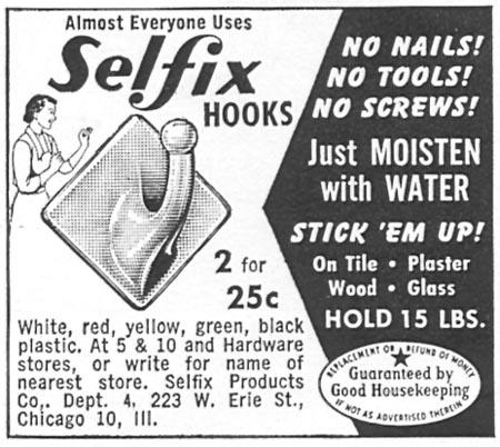 SELFIX HOOKS WOMAN'S DAY 09/01/1955 p. 121