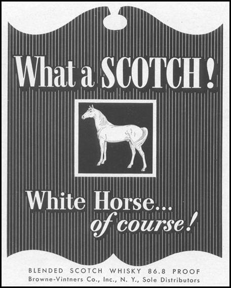 WHITE HORSE BLENDED SCOTCH WHISKEY LIFE 10/13/1952 p. 100