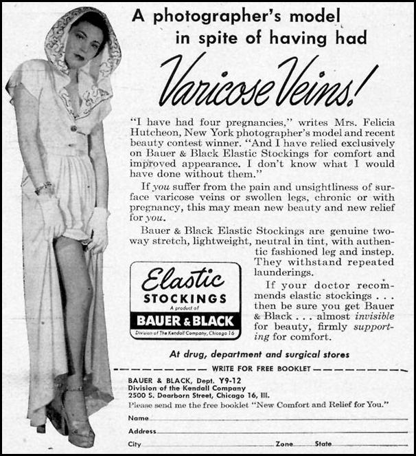 ELASTIC STOCKINGS WOMAN'S DAY 12/01/1949 p. 100