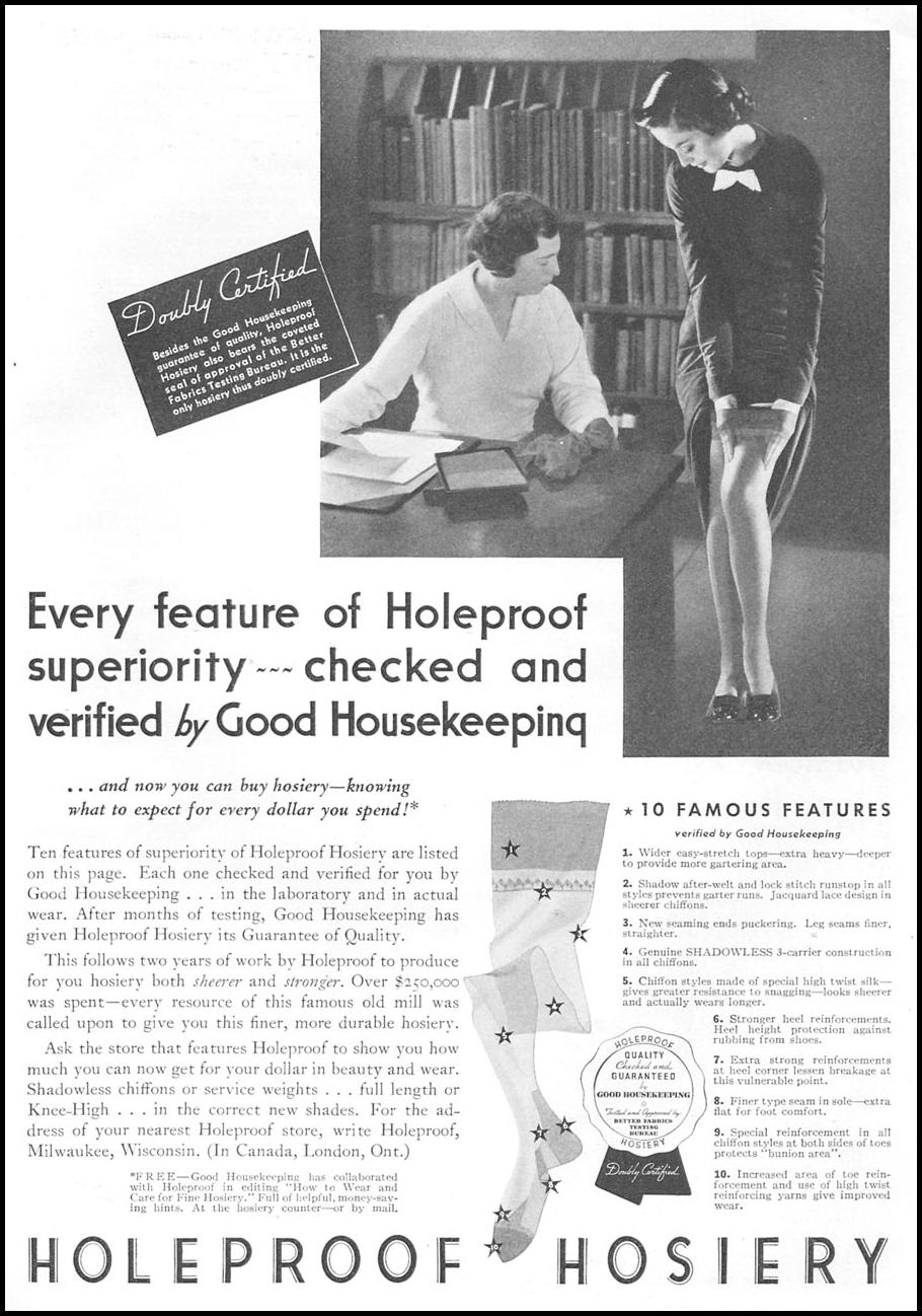 HOLEPROOF HOSIERY GOOD HOUSEKEEPING 04/01/1936 p. 123