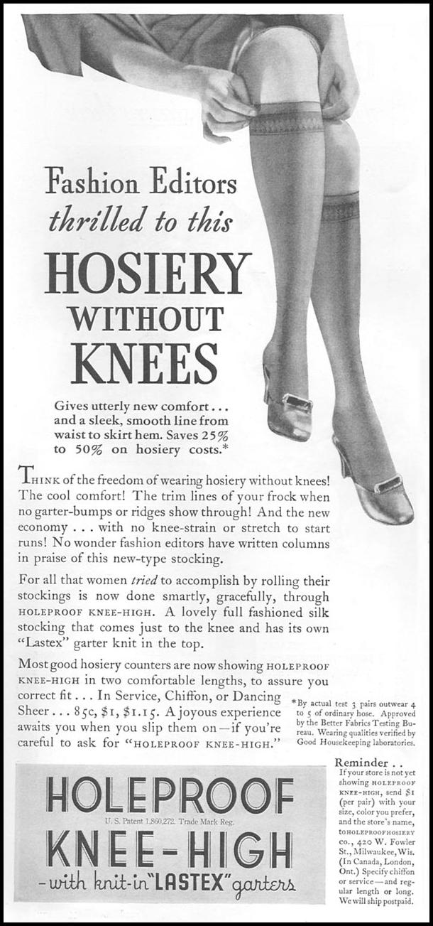 HOLEPROOF KNEE-HIGH HOSIERY GOOD HOUSEKEEPING 06/01/1935 p. 168