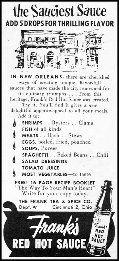 FRANK'S RED HOT SAUCE WOMAN'S DAY 02/01/1954 p. 175