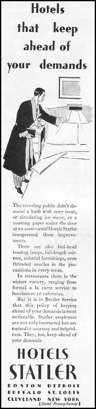 STATLER HOTELS BETTER HOMES AND GARDENS 10/01/1930 p. 68