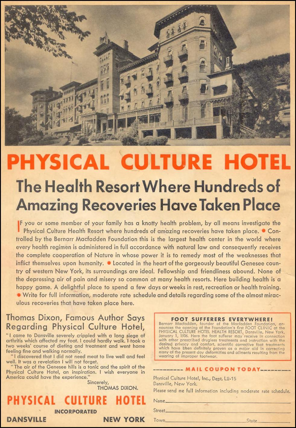 PHYSICAL CULTURE HOTEL LIBERTY 02/15/1936 INSIDE FRONT