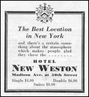 HOTEL NEW WESTON NEWSWEEK 05/04/1935 p. 38