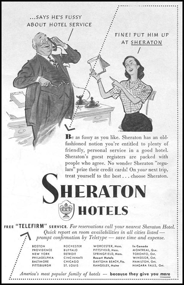 SHERATON HOTELS NEWSWEEK 08/20/1951 p. 87