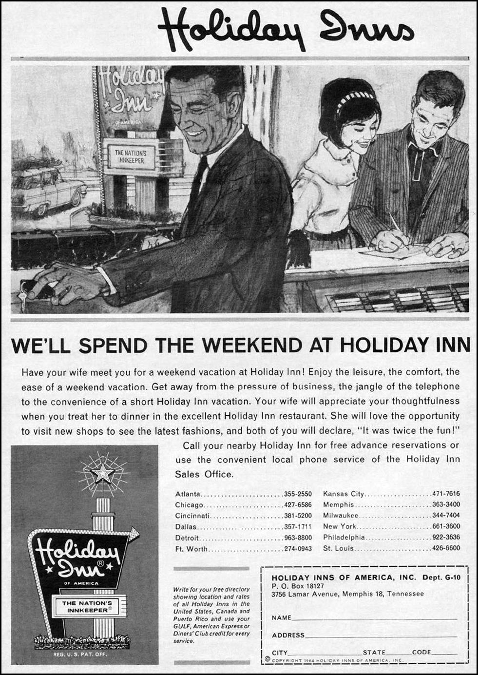 HOLIDAY INN MOTELS NEWSWEEK 10/12/1964 p. 113
