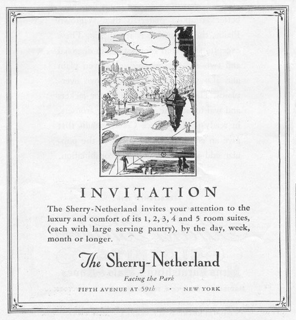 THE SHERRY-NETHERLAND HOTEL NEWSWEEK 11/09/1935 p. 24