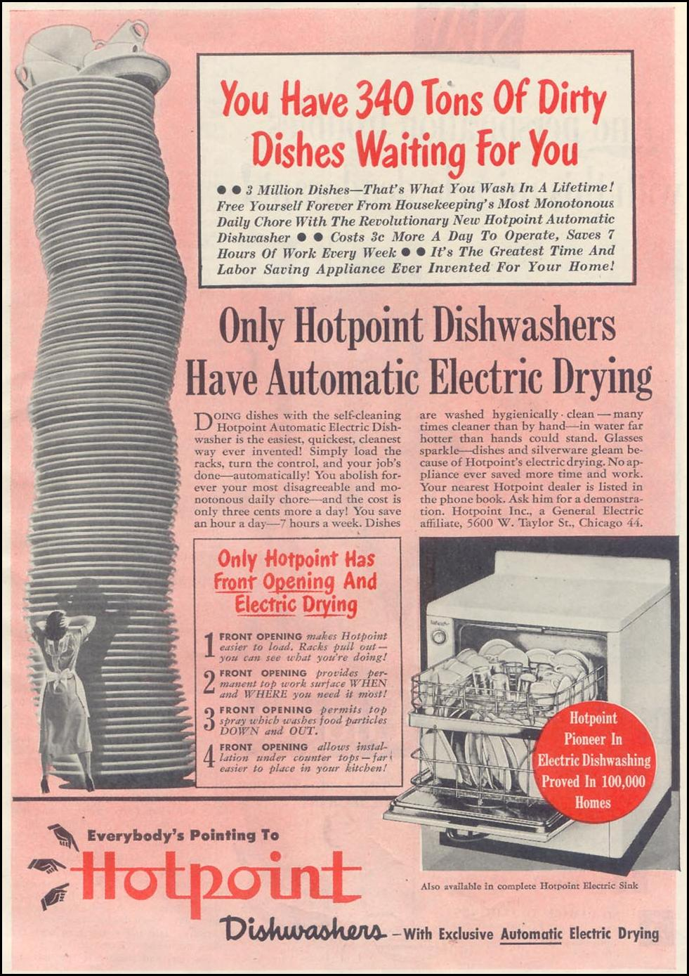 HOTPOINT DISHWASHERS GOOD HOUSEKEEPING 07/01/1948 p. 101
