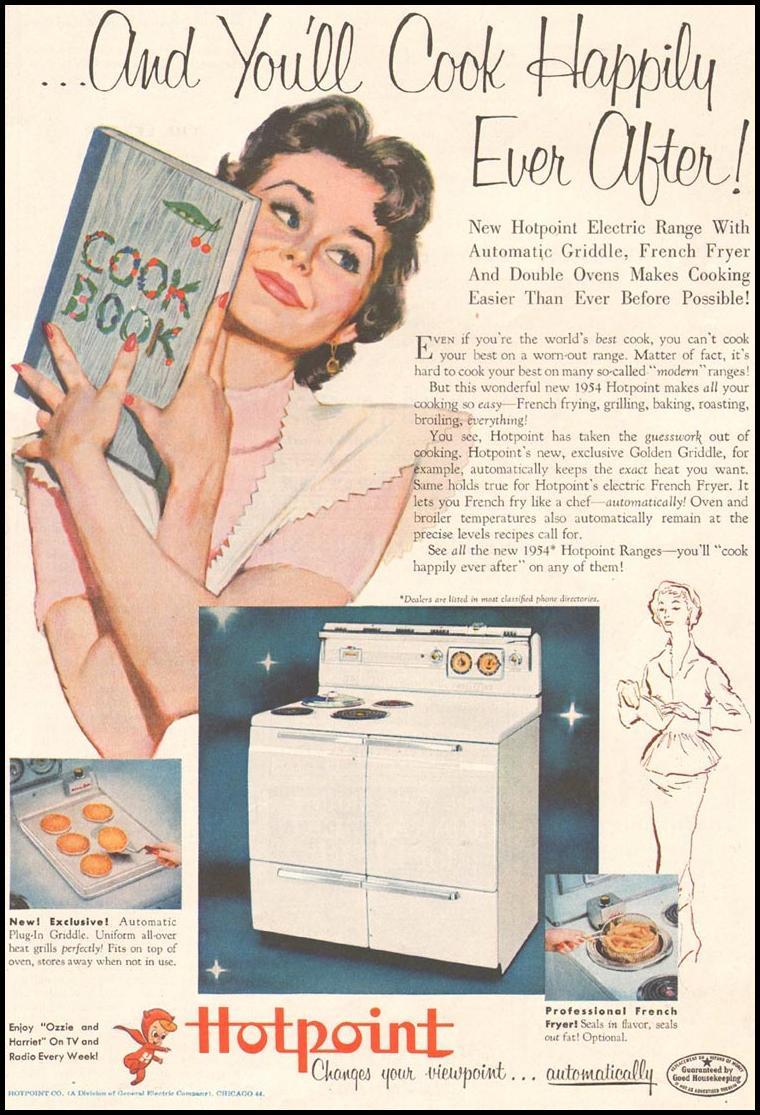 HOTPOINT RANGES LADIES' HOME JOURNAL 03/01/1954 p. 197