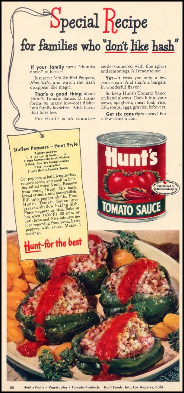 HUNT'S TOMATO SAUCE WOMAN'S DAY 09/01/1948 p. 56