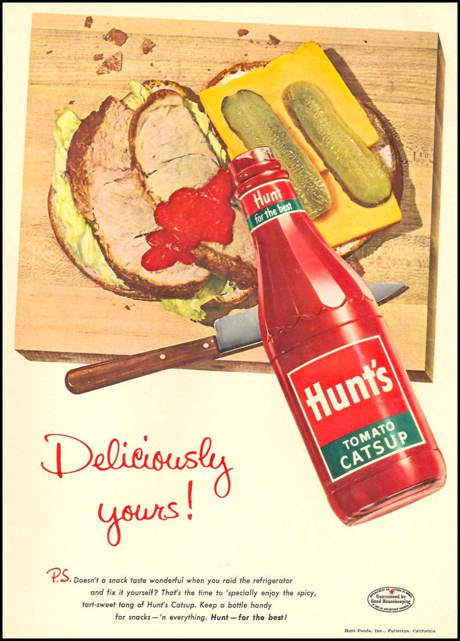 HUNT'S TOMATO CATSUP WOMAN'S DAY 09/01/1955 p. 28