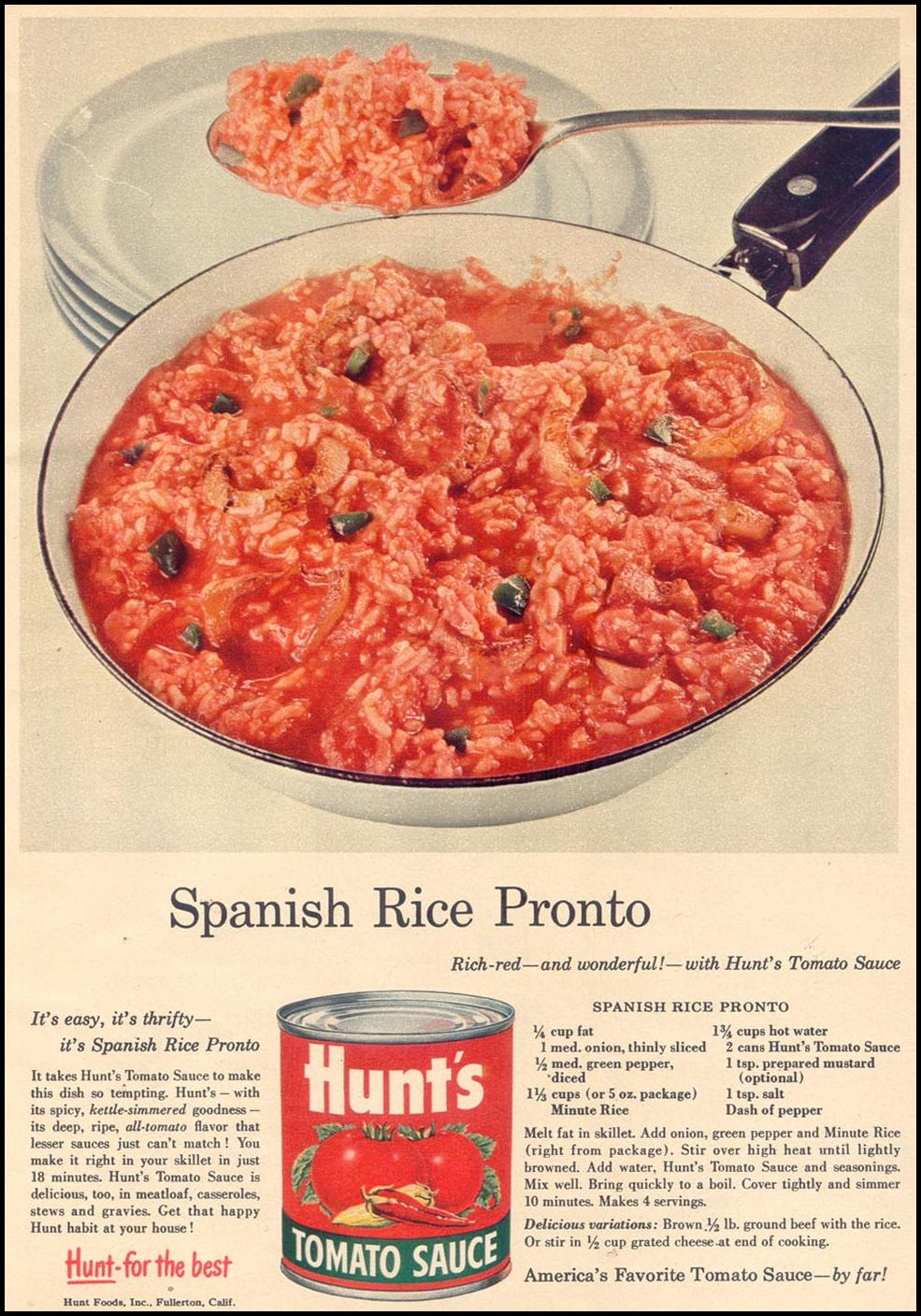 HUNT'S TOMATO SAUCE WOMAN'S DAY 11/01/1955 p. 25
