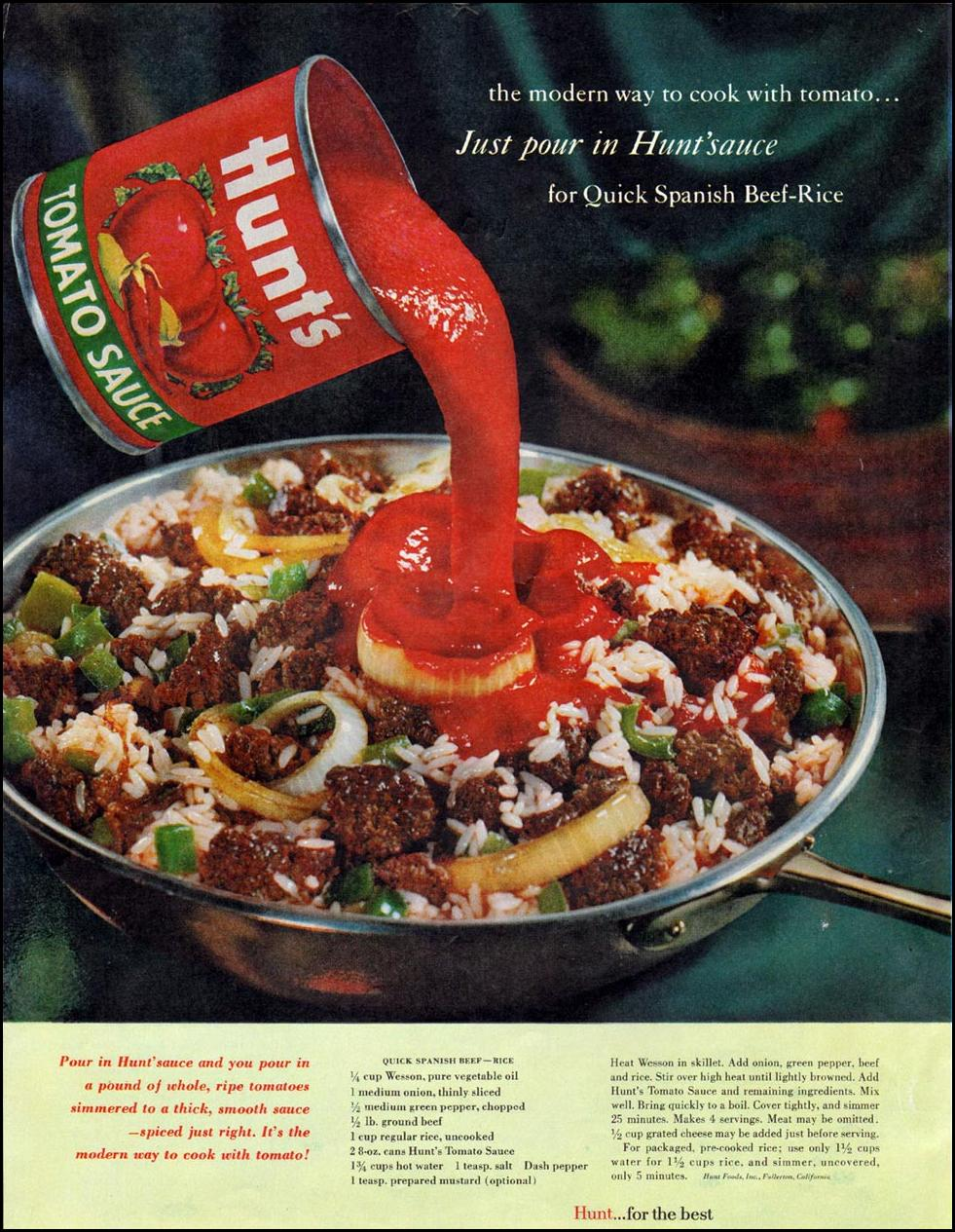 HUNT'S TOMATO SAUCE LADIES' HOME JOURNAL 06/01/1961 p. 38