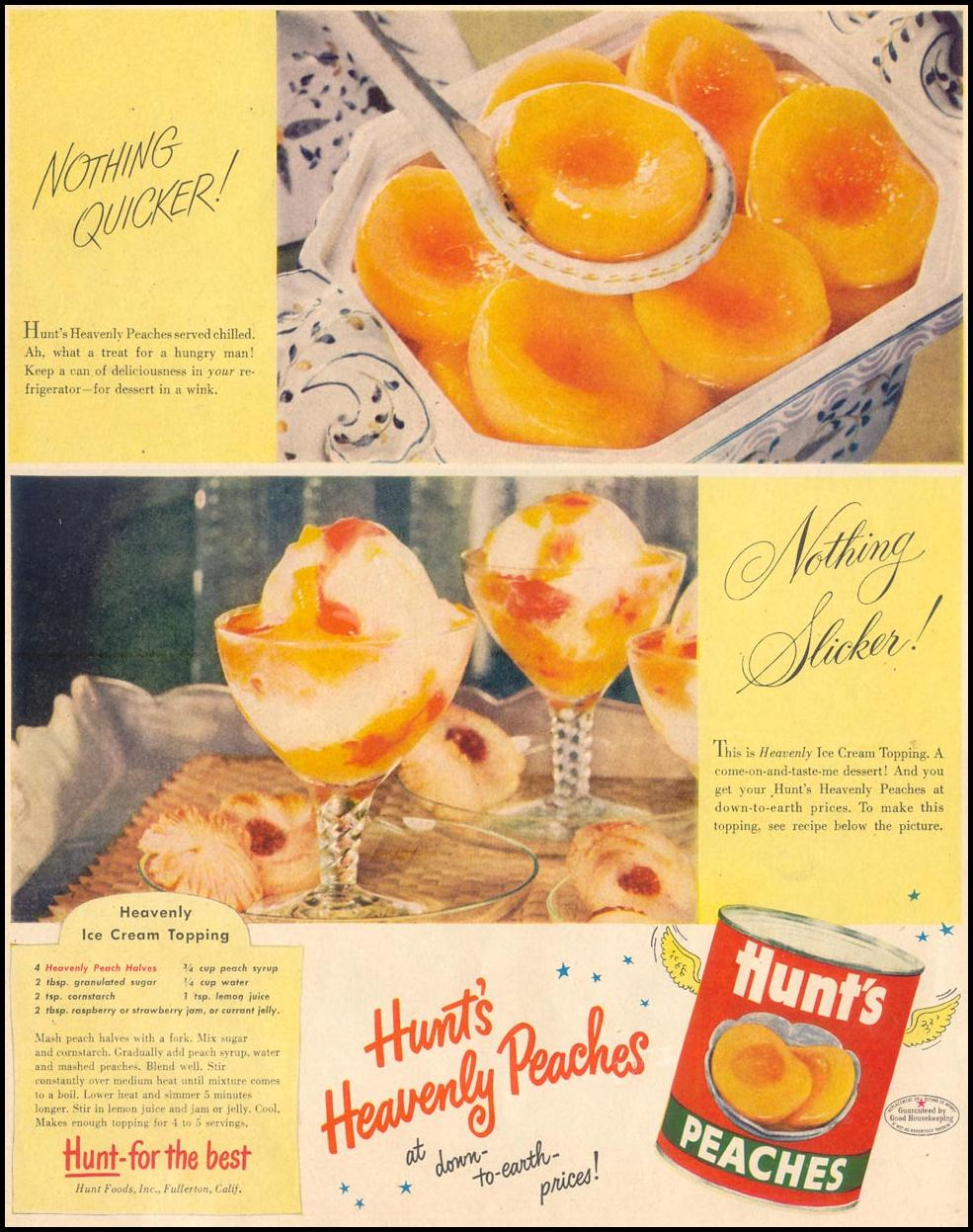 HUNT'S CANNED PEACHES LIFE 09/07/1953 p. 42