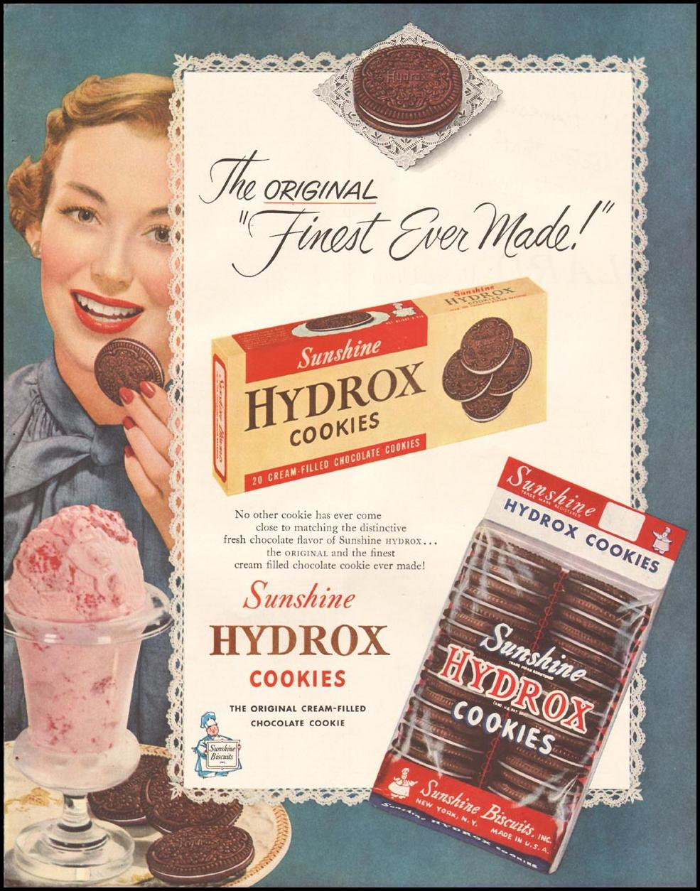 HYDROX COOKIES LADIES' HOME JOURNAL 11/01/1950 p. 107