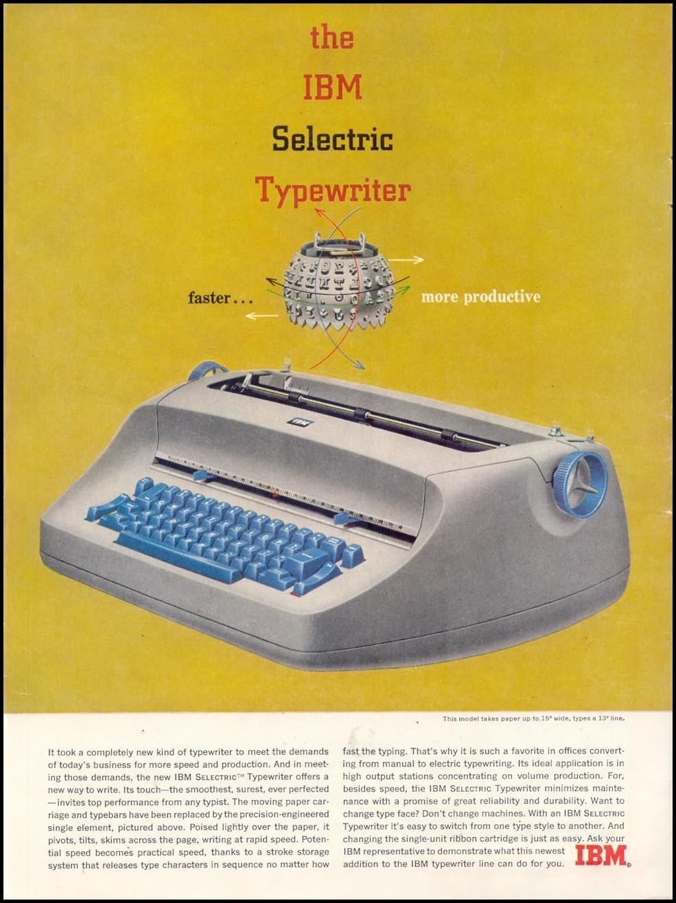 IBM SELECTRIC TYPEWRITER TIME 07/16/1962 INSIDE FRONT
