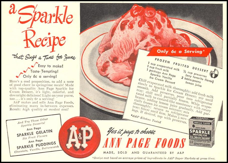 A & P ANN PAGE SPARKLE ICE CREAM DESSERT WOMAN'S DAY 06/01/1946 p. 63