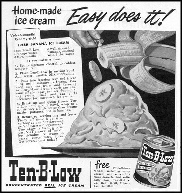 TEN-B-LOW ICE CREAM CONCENTRATE WOMAN'S DAY 08/01/1949 p. 84