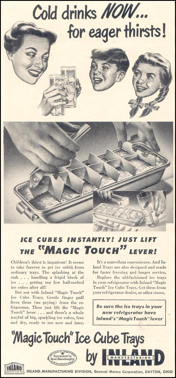 INLAND 'MAGIC TOUCH' ICE CUBE TRAYS GOOD HOUSEKEEPING 07/01/1949 p. 94